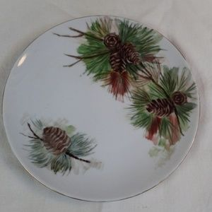 Antique Pine Cone Design Plate Bavaria Germany